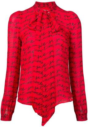Milly printed pussy bow blouse