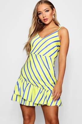 boohoo Izabella Ruffle Hem Striped Tea Dress