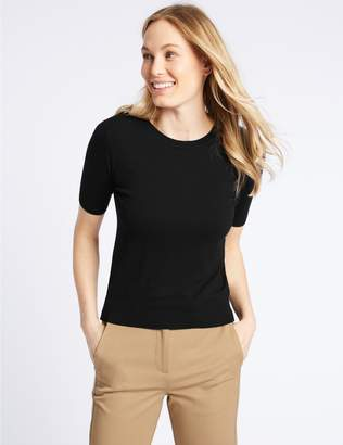 Marks and Spencer Round Neck Short Sleeve Jumper