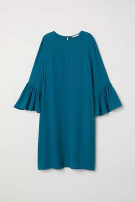 H&M Flounce-sleeved Dress - Beige/leopard print - Women