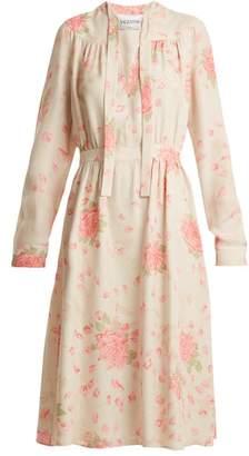 Valentino Rose-print silk-georgette dress