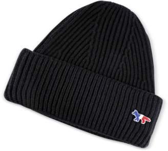 MAISON KITSUNÉ Ribbed Wool Hat w/Fox Patch