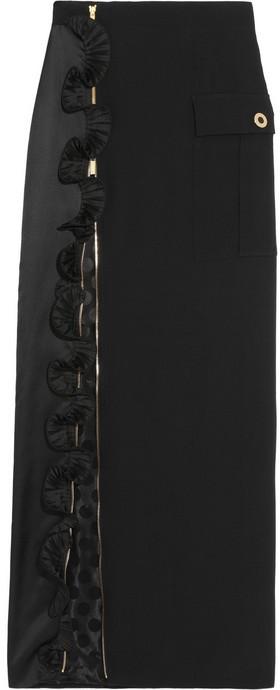 Ungaro Ruffle-trimmed crepe maxi skirt