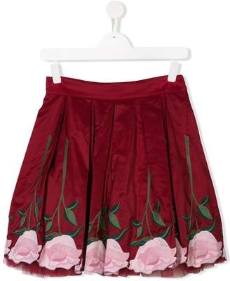 MonnaLisa TEEN rose embroidered skirt
