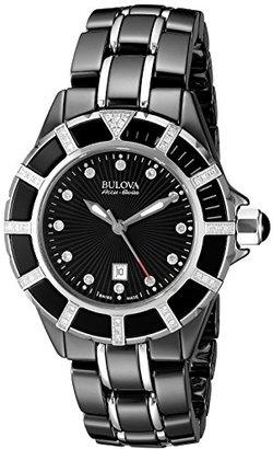 Bulova Accu Swiss Women's 65R156 Diamond Black Watch $1,200 thestylecure.com