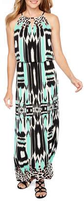 LONDON STYLE Sleeveless Pattern Maxi Dress