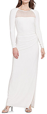 Lauren Ralph Lauren Lauren Ralph Lauren Beaded-Yoke Sheath Jersey Gown