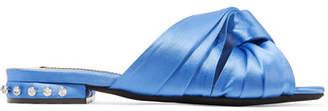 No.21 No. 21 - Crystal-embellished Knotted Satin Slides - Azure