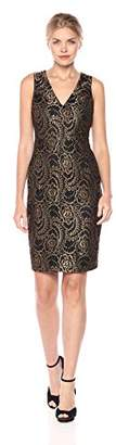 GUESS Women's Gold Foilded Lace Dress with V-Neckline, Black
