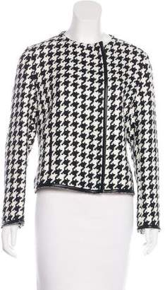 Akris Faux Leather-Trimmed Knit Jacket