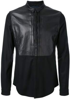 Juun.J leather detail shirt