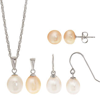 Pearls Silver 7-9Mm Pearl Necklace & Earrings Set