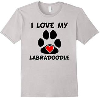 I Love My Labradoodle Paw Print Heart Dog Owner T-Shirt