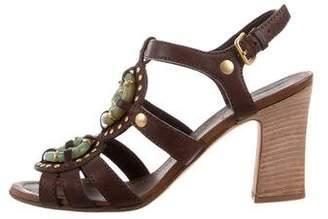 Miu Miu Leather Embellished Sandals