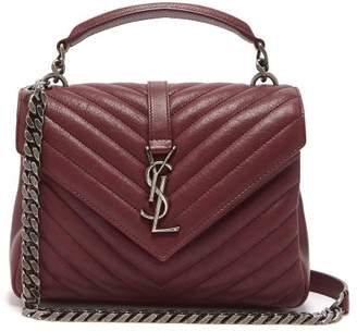 Saint Laurent College Medium Quilted Leather Cross Body Bag - Womens - Burgundy