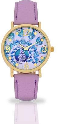 ACCUTIME WATCH CORP Women's Lavender Peacock Dial Watch, Faux Leather Band