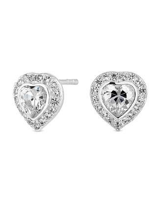 Jon Richard Simply Silver By Simply Silver Heart Halo Stud Earring