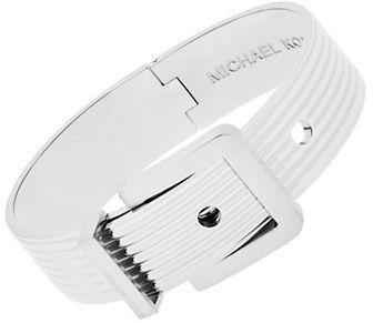 MICHAEL Michael KorsMichael Kors Silvertone Ribbed Padlock Buckle Bracelet