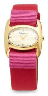 Salvatore Ferragamo Stainless Steel & Patent Leather-Strap Watch