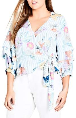 City Chic Pastel Faux Wrap Top