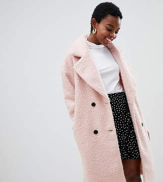 Glamorous Petite double breasted coat in textured wool