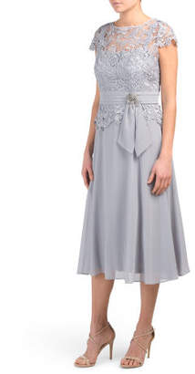 Short Sleeve Lace & Chiffon Midi Dress