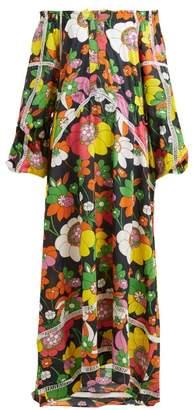 Dodo Bar Or Myra Off Shoulder Floral Print Cotton Poplin Dress - Womens - Black Print