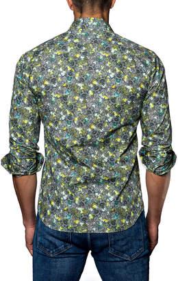 Jared Lang Paisley-Print Sport Shirt, Green
