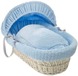 Clair De Lune Marshmallow White Wicker Moses Basket inc. bedding, mattress & adjustable hood (Blue)