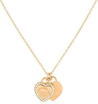 Tiffany & Co. 18K Diamond Double Heart Tag Pendant Necklace