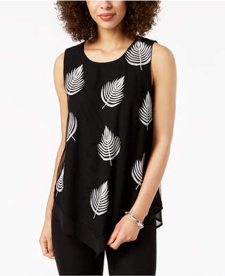 Alfani Sleeveless Embroidered V-Hem Top, Created for Macy's