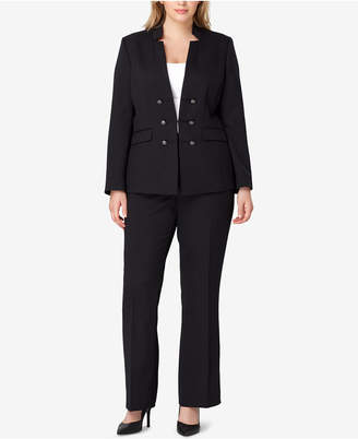 Tahari ASL Plus Size Star-Neck Pantsuit