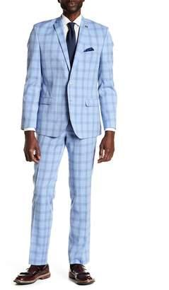 Nick Graham Plaid Print 2-Piece Suit