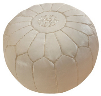 nuLoom Moroccan Leather Pouf, White