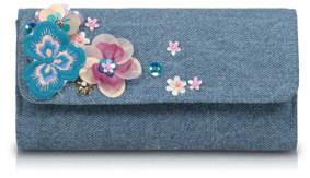 Bell Flower Embellished Denim Purse