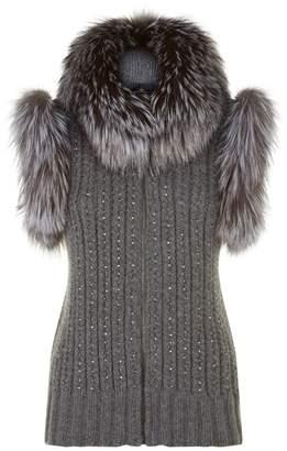 William Sharp Fox Fur Trim Textured Cashmere Gilet