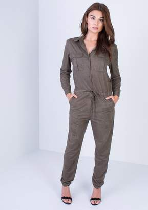 7112ba5a62e at Missy Empire · Missy Empire Missyempire Anika Khaki Utility Jumpsuit