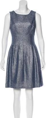 Lela Rose Pleated Metallic Dress