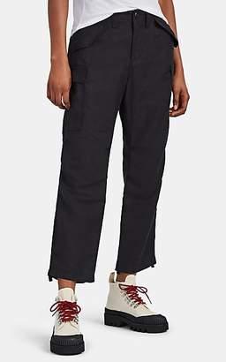 VIS A VIS Women's Linen-Blend Piqué Crop Cargo Pants - Black