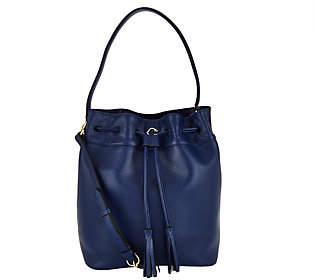C. WonderC. Wonder Pebble Leather Drawstring Bucket Handbag
