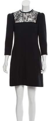 Alexander McQueen Lace Bib Shift Dress Black Lace Bib Shift Dress