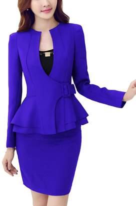 MFrannie Women V-Neck Contrast Long Sleeve Blazer & Skirt 2-Piece Suit Set XS