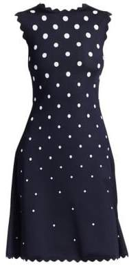 Oscar de la Renta Sleeveless Polka Dot Scallop-Trim A-Line Dress