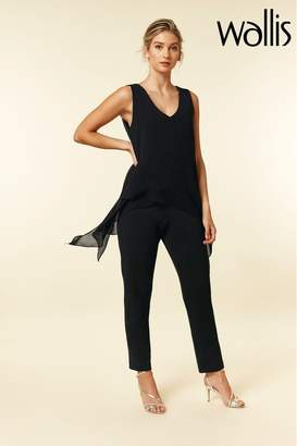 Wallis Womens Black Overlayer Jumpsuit - Black