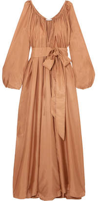 Kalita - Andromeda Belted Silk-habotai Maxi Dress - Bronze