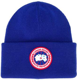 Canada Goose logo patch beanie hat