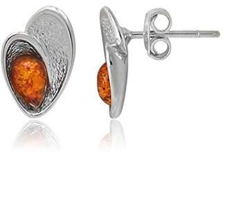 Goldmajor Women 925 Sterling Silver Brown Amber Stud Earrings ER1431