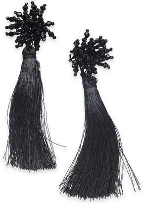 Thalia Sodi Black-Tone Bead & Tassel Linear Drop Earrings, Created for Macy's