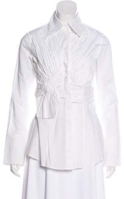 Robert Rodriguez Ruched Long Sleeve Button-Up