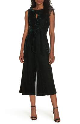 Adelyn Rae Simone Wide Leg Crop Velvet Jumpsuit